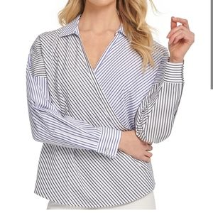 DKNY Cotton Striped Wrap Top Career Blue Size M